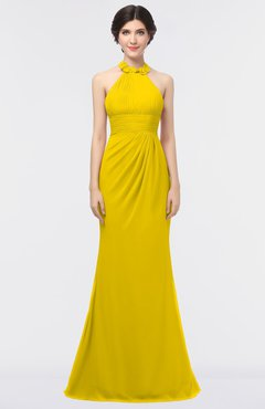 ColsBM Miranda Yellow Antique Halter Sleeveless Zip up Floor Length Bridesmaid Dresses