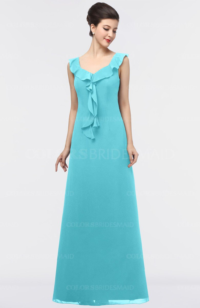 Turquoise Mature A-line Square Zip up Floor Length Bridesmaid ...