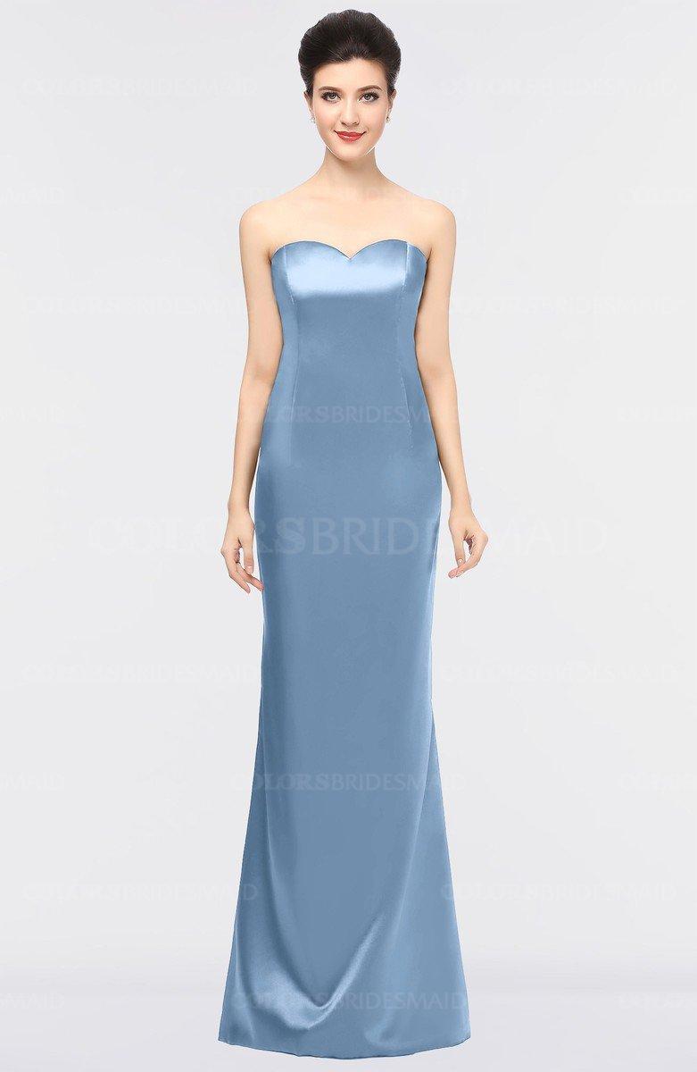 02c402be143 ColsBM Reagan Faded Denim Mature Column Strapless Zip up Floor Length  Plainness Prom Dresses