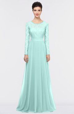 ColsBM Shelly Blue Glass Romantic A-line Long Sleeve Floor Length Lace Bridesmaid Dresses