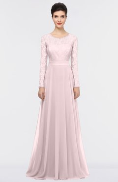 ColsBM Shelly Blush Romantic A-line Long Sleeve Floor Length Lace Bridesmaid Dresses