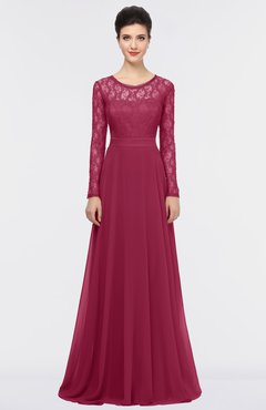 Burgundy A Line Long Sleeve Floor Length Lace Bridesmaid Dresses
