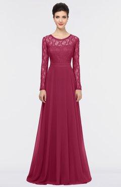 ColsBM Shelly Burgundy Romantic A-line Long Sleeve Floor Length Lace Bridesmaid Dresses