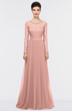 ColsBM Shelly Coral Almond Romantic A-line Long Sleeve Floor Length Lace Bridesmaid Dresses