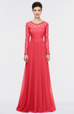 ColsBM Shelly Coral Romantic A-line Long Sleeve Floor Length Lace Bridesmaid Dresses