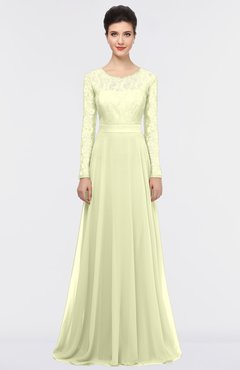 ColsBM Shelly Cream Romantic A-line Long Sleeve Floor Length Lace Bridesmaid Dresses