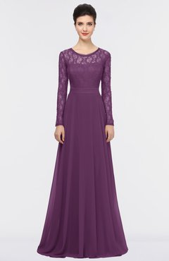 ColsBM Shelly Dahlia Romantic A-line Long Sleeve Floor Length Lace Bridesmaid Dresses