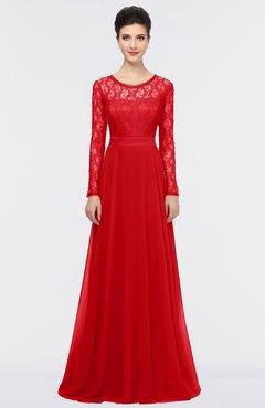 ColsBM Shelly Flame Scarlet Romantic A-line Long Sleeve Floor Length Lace Bridesmaid Dresses