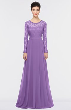 ColsBM Shelly Hyacinth Romantic A-line Long Sleeve Floor Length Lace Bridesmaid Dresses