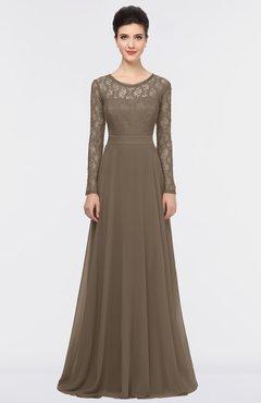 ColsBM Shelly Latte Romantic A-line Long Sleeve Floor Length Lace Bridesmaid Dresses