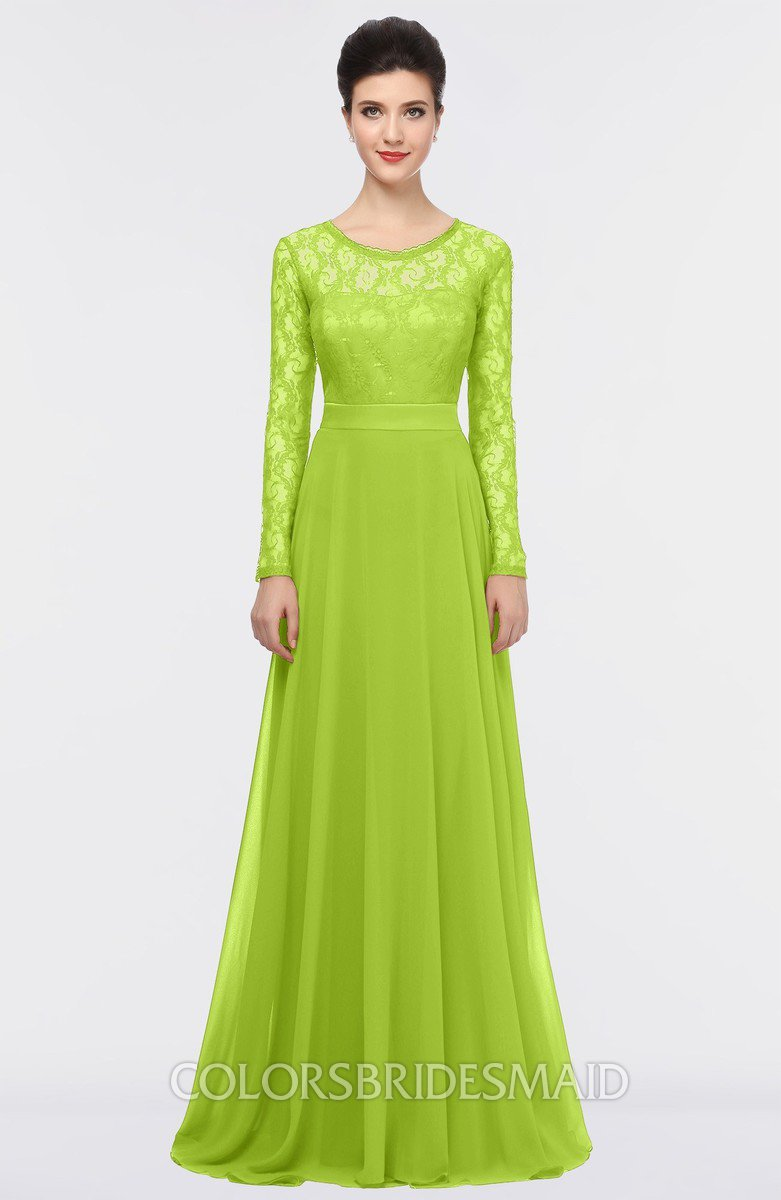Colsbm Shelly Lime Green A Line Long Sleeve Floor Length Lace Bridesmaid Dresses