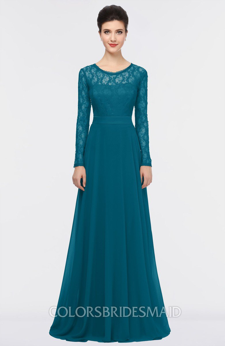 Midnight Blue Romantic A-line Long Sleeve Floor Length ...
