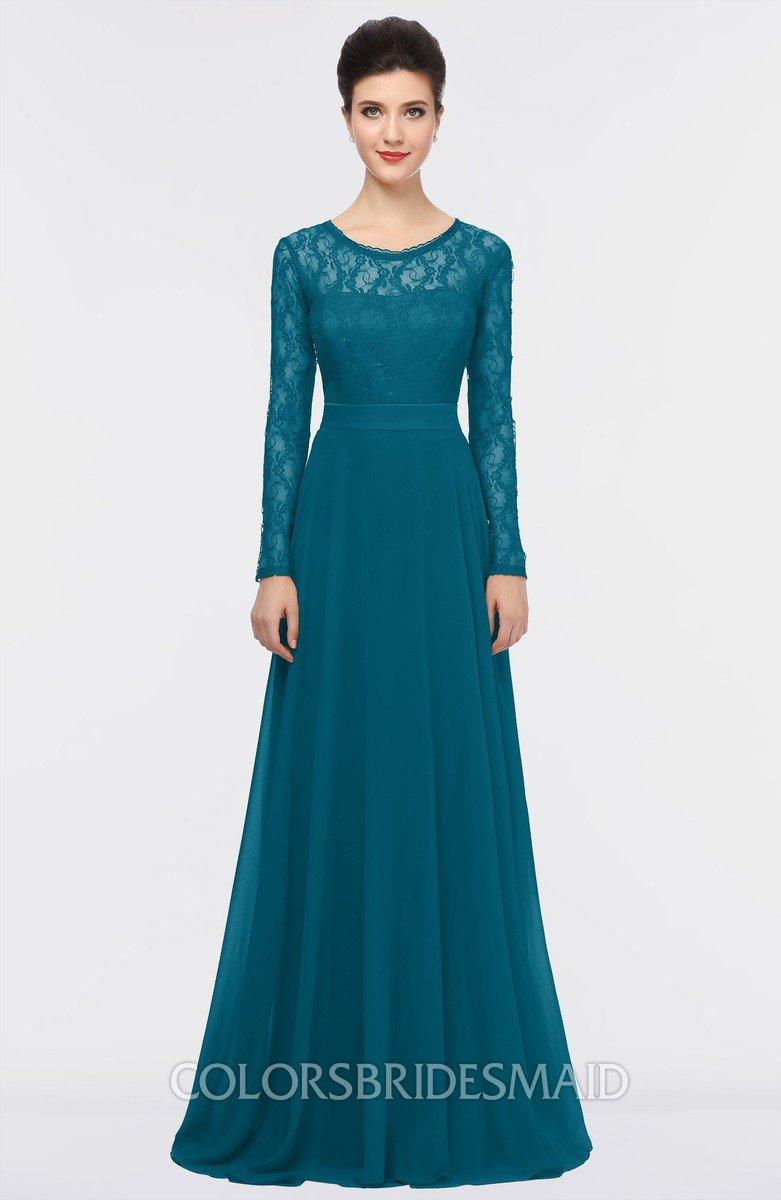 Colsbm Shelly Midnight Blue A Line Long Sleeve Floor Length Lace Bridesmaid Dresses