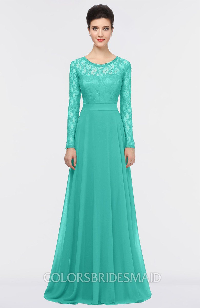3def637b861 ColsBM Shelly Mint Green Romantic A-line Long Sleeve Floor Length Lace  Bridesmaid Dresses