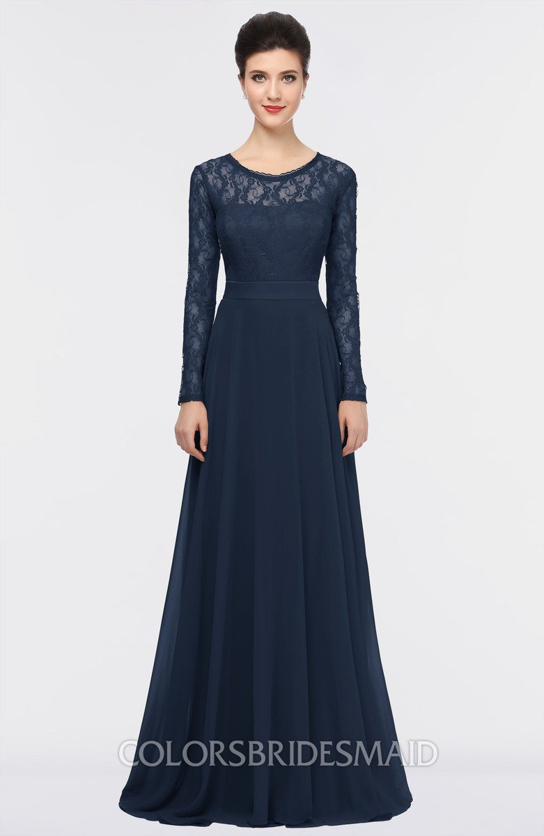 Colsbm Shelly Navy Blue A Line Long Sleeve Floor Length Lace Bridesmaid Dresses