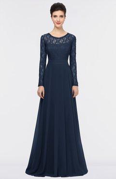 ColsBM Shelly Navy Blue Romantic A-line Long Sleeve Floor Length Lace Bridesmaid Dresses