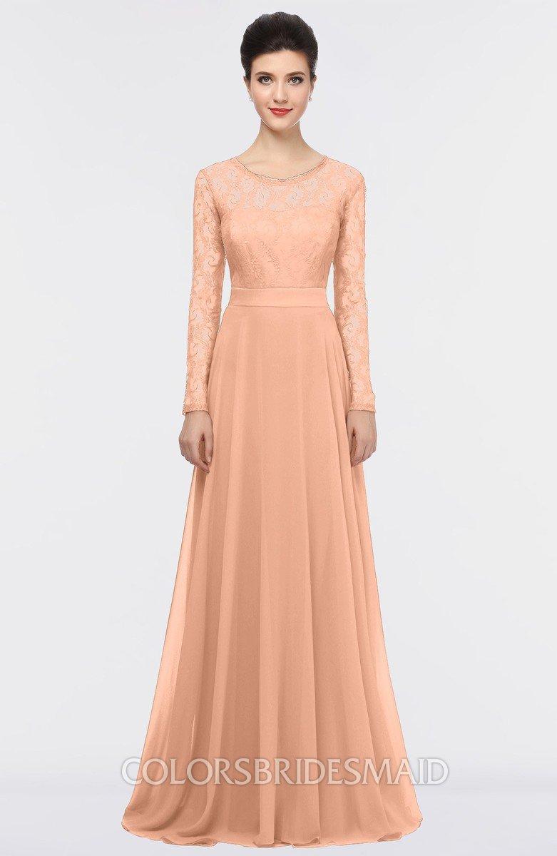 Long Peach Lace Bridesmaid Dress