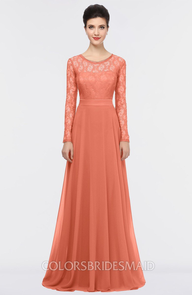 Colsbm Shelly Persimmon Orange A Line Long Sleeve Floor Length Lace Bridesmaid Dresses