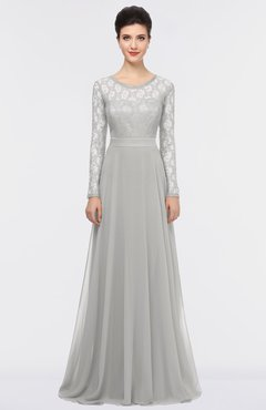 ColsBM Shelly Platinum Romantic A-line Long Sleeve Floor Length Lace Bridesmaid Dresses