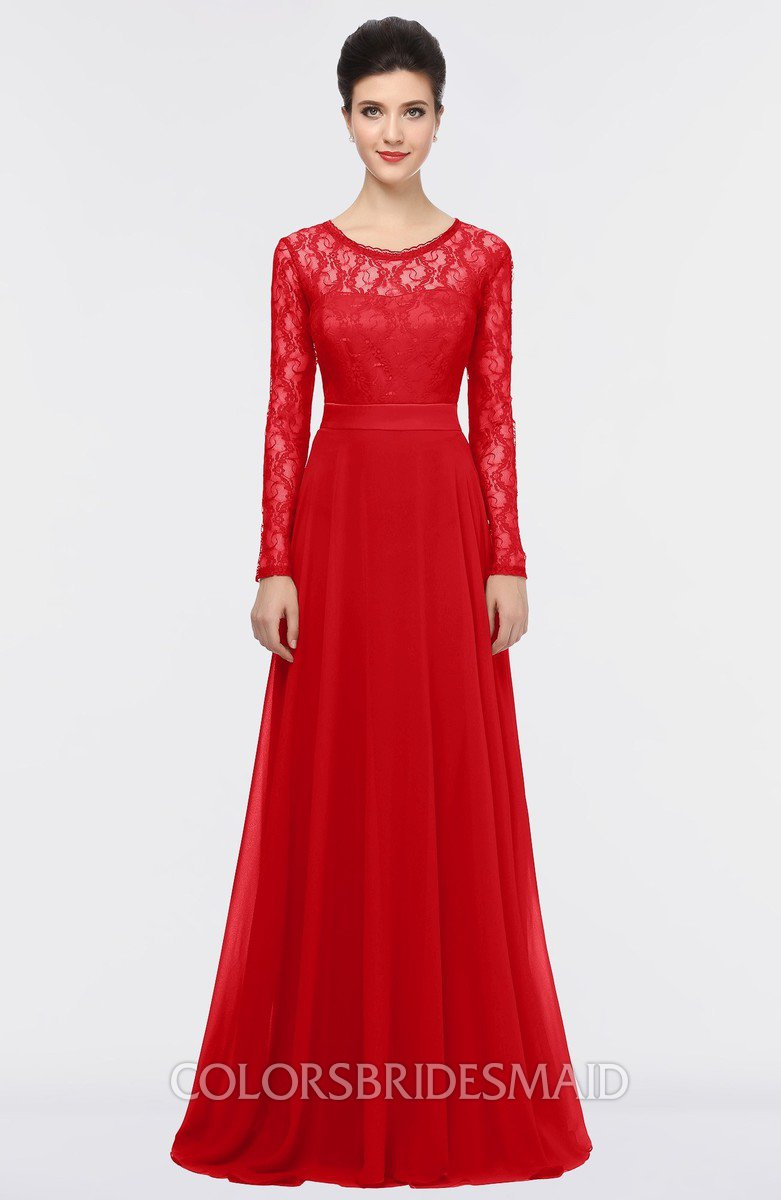 Red romantic a line long sleeve floor length lace bridesmaid romantic a line long sleeve floor length lace bridesmaid dresses ombrellifo Choice Image