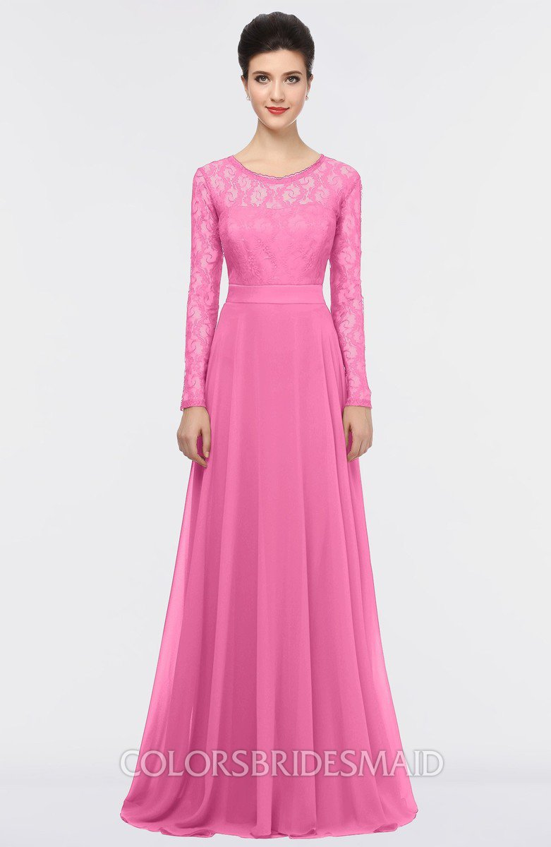 Rose pink romantic a line long sleeve floor length lace bridesmaid romantic a line long sleeve floor length lace bridesmaid dresses ombrellifo Gallery