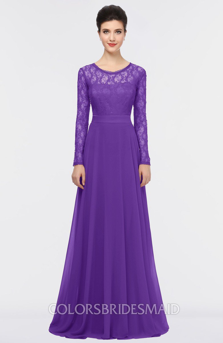 Colsbm Shelly Royal Purple A Line Long Sleeve Floor Length Lace Bridesmaid Dresses