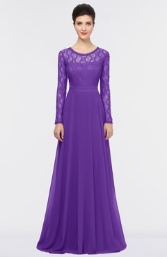 Royal Purple A Line Long Sleeve Floor Length Lace Bridesmaid Dresses