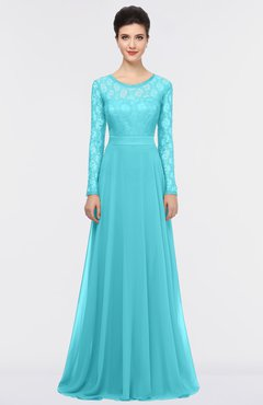 ColsBM Shelly Turquoise Romantic A-line Long Sleeve Floor Length Lace Bridesmaid Dresses