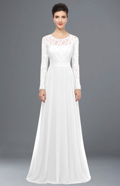 ColsBM Shelly White Romantic A-line Long Sleeve Floor Length Lace Bridesmaid Dresses