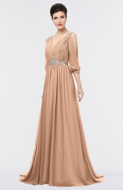 ColsBM Joyce Almost Apricot Mature A-line V-neck Zip up Sweep Train Beaded Bridesmaid Dresses
