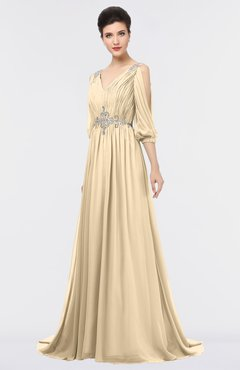 ColsBM Joyce Apricot Gelato Mature A-line V-neck Zip up Sweep Train Beaded Bridesmaid Dresses