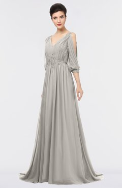 ColsBM Joyce Ashes Of Roses Mature A-line V-neck Zip up Sweep Train Beaded Bridesmaid Dresses