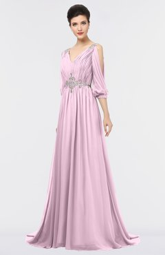 ColsBM Joyce Baby Pink Mature A-line V-neck Zip up Sweep Train Beaded Bridesmaid Dresses