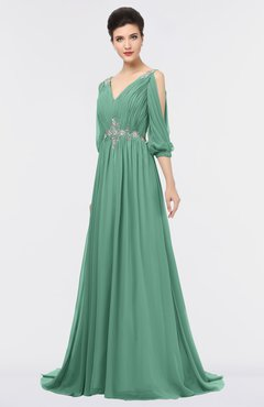 ColsBM Joyce Beryl Green Mature A-line V-neck Zip up Sweep Train Beaded Bridesmaid Dresses