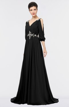 ColsBM Joyce Black Mature A-line V-neck Zip up Sweep Train Beaded Bridesmaid Dresses