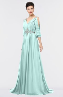 ColsBM Joyce Blue Glass Mature A-line V-neck Zip up Sweep Train Beaded Bridesmaid Dresses