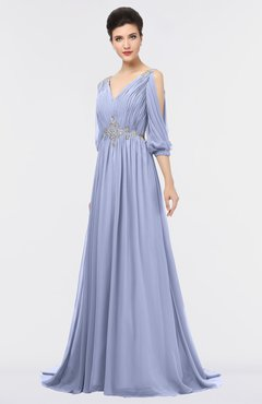 ColsBM Joyce Blue Heron Mature A-line V-neck Zip up Sweep Train Beaded Bridesmaid Dresses