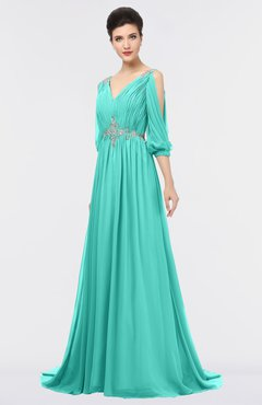 ColsBM Joyce Blue Turquoise Mature A-line V-neck Zip up Sweep Train Beaded Bridesmaid Dresses