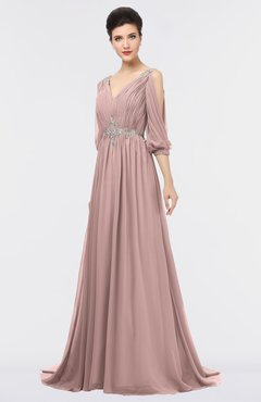 ColsBM Joyce Blush Pink Mature A-line V-neck Zip up Sweep Train Beaded Bridesmaid Dresses