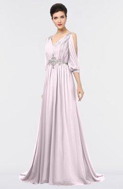 ColsBM Joyce Blush Mature A-line V-neck Zip up Sweep Train Beaded Bridesmaid Dresses