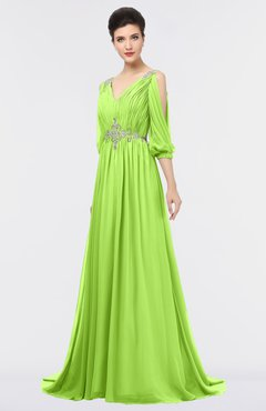 ColsBM Joyce Bright Green Mature A-line V-neck Zip up Sweep Train Beaded Bridesmaid Dresses