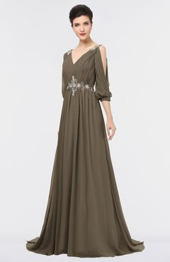 ColsBM Joyce Carafe Brown Mature A-line V-neck Zip up Sweep Train Beaded Bridesmaid Dresses