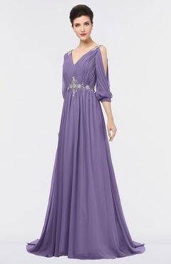 ColsBM Joyce Chalk Violet Mature A-line V-neck Zip up Sweep Train Beaded Bridesmaid Dresses