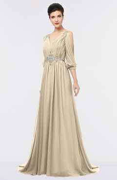 Champagne A Line V Neck Zip Up Sweep Train Beaded Bridesmaid Dresses