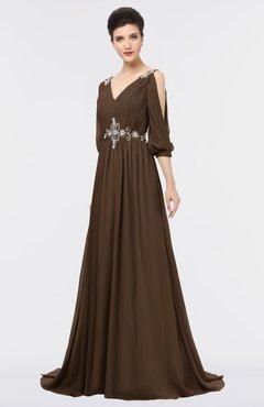 ColsBM Joyce Chocolate Brown Mature A-line V-neck Zip up Sweep Train Beaded Bridesmaid Dresses