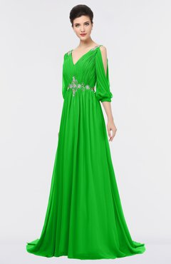 ColsBM Joyce Classic Green Mature A-line V-neck Zip up Sweep Train Beaded Bridesmaid Dresses