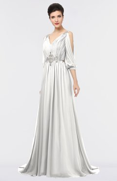 ColsBM Joyce Cloud White Mature A-line V-neck Zip up Sweep Train Beaded Bridesmaid Dresses