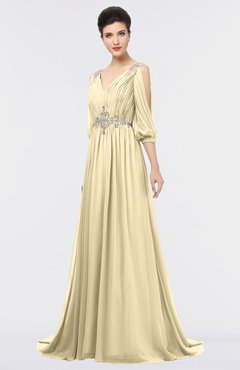 ColsBM Joyce Cornhusk Mature A-line V-neck Zip up Sweep Train Beaded Bridesmaid Dresses