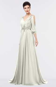 ColsBM Joyce Cream Mature A-line V-neck Zip up Sweep Train Beaded Bridesmaid Dresses