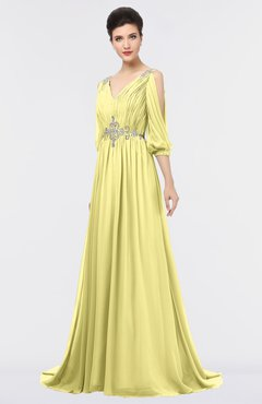ColsBM Joyce Daffodil Mature A-line V-neck Zip up Sweep Train Beaded Bridesmaid Dresses